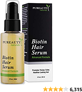Biotin Hair Growth Serum Advanced Topical Formula To Help Grow Healthy, Strong Hair Suitable for Men and Women of All Hair Types Hair Loss Support By Pureauty Naturals