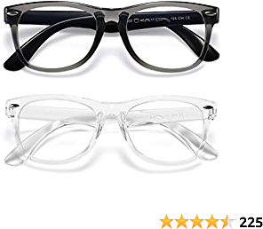 Kids Blue Light Blocking Glasses Girls Boys 2 Pack, Computer Video Gaming Glasses for Kids Girls Boys Age 3-10,Anti Blue Light & Headache (Transparent Black + Transparent)