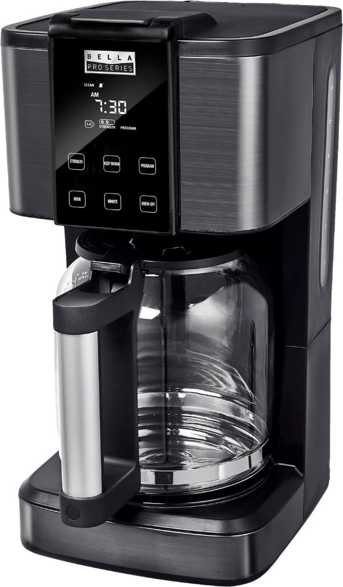 Bella Pro Series 14-Cup Touchscreen Coffee Maker Black Stainless Steel + F/S