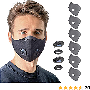 YUIKIO Reusable Face Mask with Breathing Valve, Breathable Black Face Masks with 6 Carbon Filters and 2 Valves Personal Protective Adjustable Nylon Sport Mask for Running, Cycling, Woodworking