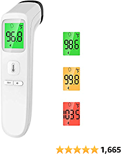 Touchless Thermometer – Forehead Thermometer for Adults,No Touch for Fever, Baby Kids Child with Batteries, Fever Alarm, 35 Groups Data Storage