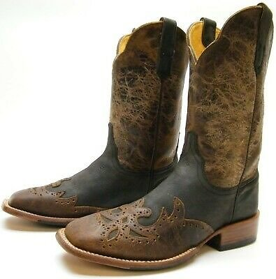 MENS CINCH BROWN BLK SQUARE TOE LEATHER WINGTIP OVERLAY COWBOY WESTERN BOOTS 8 D