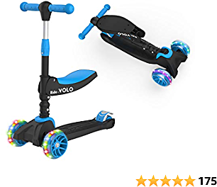 RideVOLO K02 2-in-1 Kick Scooter with Removable Seat Great for 2-6 Years Old – 3 Adjustable Height Extra-Wide Deck PU Flashing Wheels