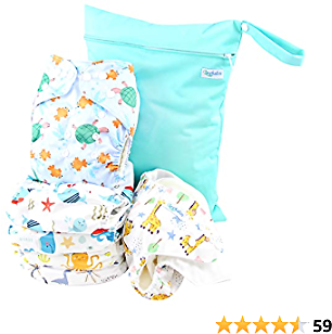 40% OFF Cloth Diapers Reusable for Boys and Girls, with Bamboo Inserts & Wet Bag