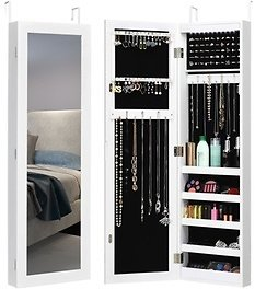 38% OFF | Wall & Door Mounted Mirrored Jewelry Cabinet Organizer Storage W/LED Light White