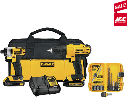 DeWalt 20V MAX 20 Volt Cordless Brushed 2 Tool Compact Drill and Impact Driver Kit - Ace Hardware