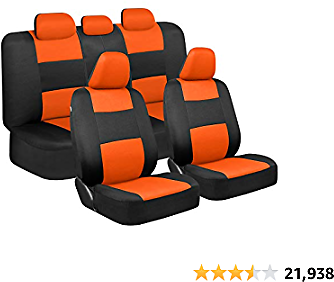 BDK PolyPro Car Seat Covers, Full Set in Orange On Black – Front and Rear Split Bench Protection, Easy Install with Two-Tone Accent, Universal Fit for Auto Truck Van SUV