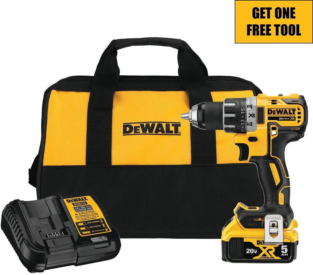 DEWALT 20-Volt MAX XR Cordless Brushless 1/2 in. Drill/Driver with (1) 20-Volt 5.0Ah Battery, Charger and Tool Bag