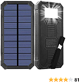 Solar Charger, Friengood 15000mAh Portable Solar Power Bank with Dual USB Output Ports, Solar Phone Charger External Battery Pack with 6 LED Flashlight Light for IPhone, IPad, Android and More (Black)