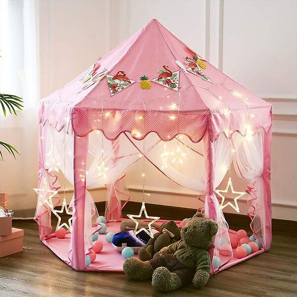 Princess Castle Portable Folding 4.58' X 4.58' Indoor/Outdoor Play Tent with Carrying Bag