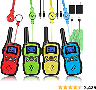 Wishouse Adults Walkie Talkies Rechargeable with 2 Usb Chargers Batteries Lanyards,Portable FRS 2 Way Radio Long Range,Family Walky Talky 4 Pack for Hiking Camping,Halloween Xmas Birthday Gift Present