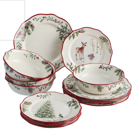 Better Homes & Gardens Heritage Holly Christmas Dinnerware Set, 12 Pieces Better Homes & Gardens Heritage Holly Christmas Dinner