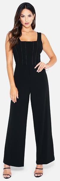 Plunging Ruffle Back Jumpsuit