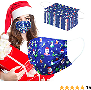 Christmas Disposable Face Mask for Women Adult Man 50 Pcs Christmas Face Mask Disposable Breathable 3 Layer Protection Layer Adjustable Masks with Nose Clip and Ear Loops Christmas Theme Adult Blue