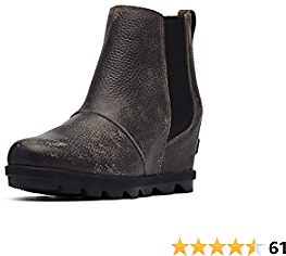 Sorel - Women's Joan of Arctic Wedge II Chelsea, Leather or Suede Ankle Boot, Quarry