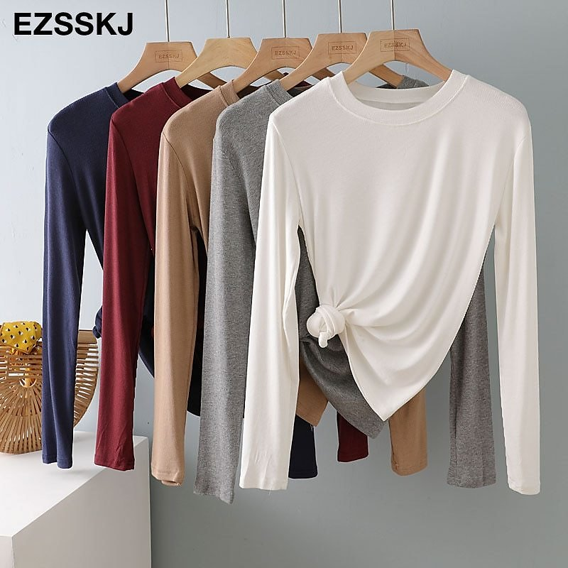US $7.49 39% OFF|autumn Winter Bottom Cotton Long Sleeve O Neck T Shirt Women Long Sleeve Casual Basic T Shirt Solid Color Tee Top Female Top|T-Shirts| - AliExpress
