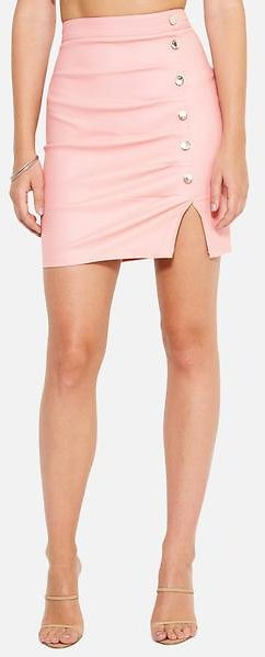Coated Button Detail Mini Skirt