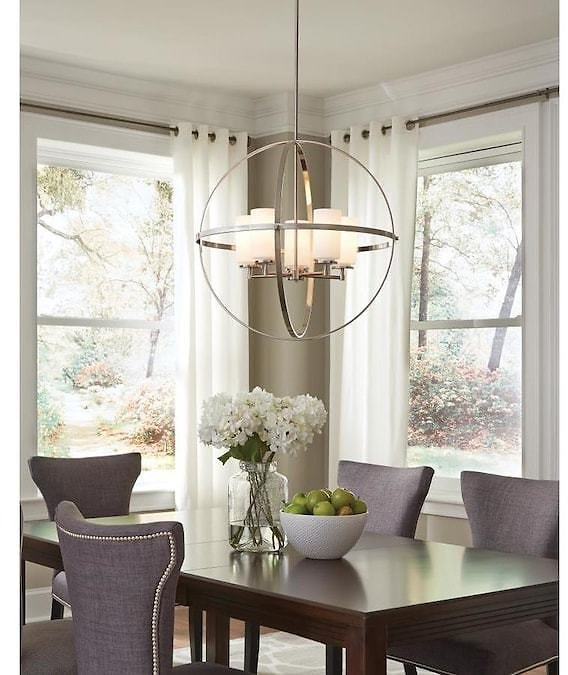 Sea Gull Lighting Alturas Brushed Nickel Modern/Contemporary Etched Glass Globe Pendant Light
