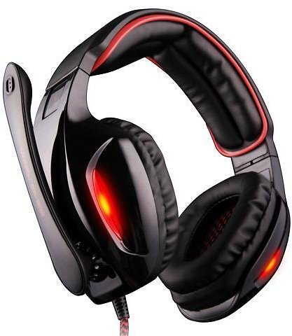 Sades SA902 7.1 Channel Virtual USB Surround Stereo Wired PC Gaming Headset Over Ear Headphones with Mic Revolution Volume Control Noise Canceling LED Light (Black/Red) - Newegg.com
