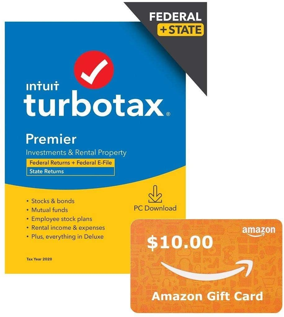 TurboTax Premier 2020 + $10 Amazon Gift Card Bundle, Desktop Tax Software, Federal and State Returns + Federal E-file (State E-file Additional) [Amazon Exclusive] [PC Download]
