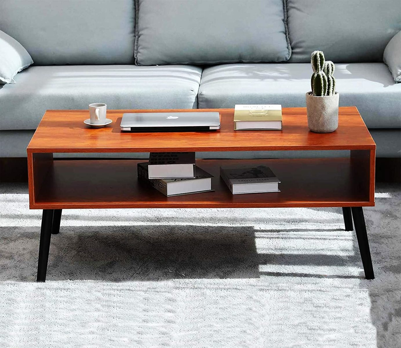 Depointer Life Mid-Century Coffee Table with Storage Shelf,Cocktail Table for Living Room,TV Table,Red Brown