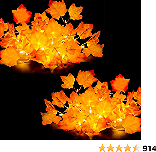 [2-Pack] Fall Decor for Home Thanksgiving Decorations Lighted Fall Garland 8.2ft 20 LED, Fall Decorations Thanksgiving Decor Maple Leaves String Lights for Indoor Autumn Harvest