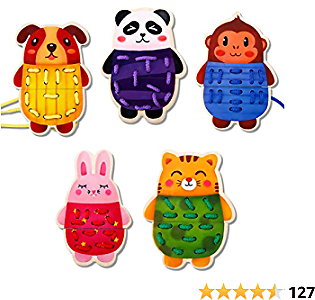 Wooden Lacing Animals Threading Toys Montessori Toys for Toddlers Fine Motor Skills Toys Preschool Activities Educational Toys for 2 3 4 5 6 Year Old Boys Girls (5 Packs)