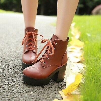 Women's Ankle Boots Lace Up Block Heels Round Toe Booties Casual Platform Shoes