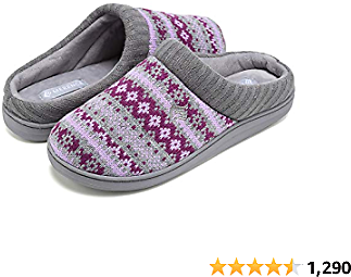 CIOR Women's Memory Foam House Slippers Sweater Knit Embroidered Pattern and Ribbed Hand-Knit Collar