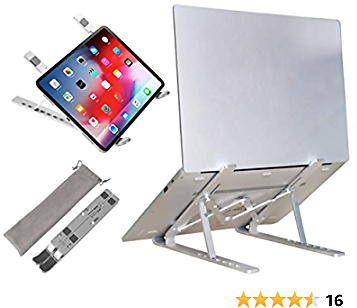 Adjustable Laptop Stand for Desk Aluminum Computer Riser Ergonomic Foldable Portable Tablet Holder Compatible with IPad MacBook Pro Air Lenovo Dell XPS HP Fits 10-17.3 Inches Notebook PC Silver