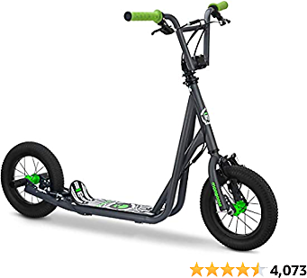 Mongoose Expo Youth Scooter, Front and Rear Caliper Brakes, Rear Axle Pegs, 12-Inch Inflatable Wheels, Available in Multiple Colors