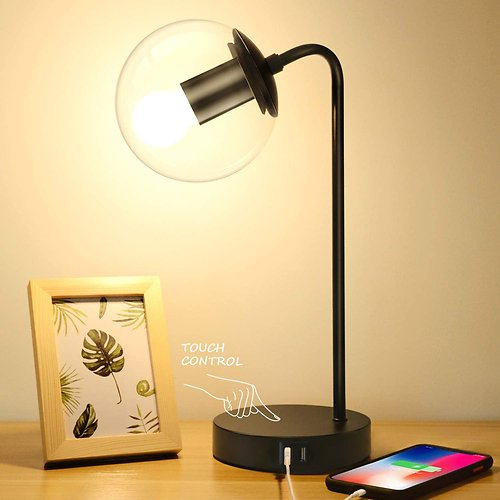 Brightever Vintage Table Lamp with 2 USB Charging Ports & 3-Way Dimmable Control | BuyDig.com