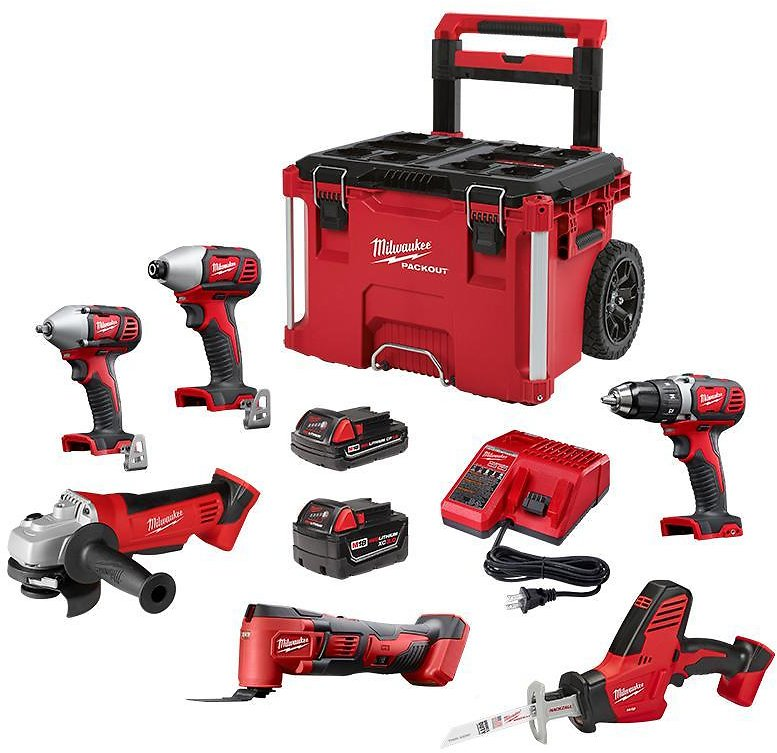 Cordless Combo Tool Kit (6-Tool) with 2-Batteries, Charger and PACKOUT Rolling Tool Box