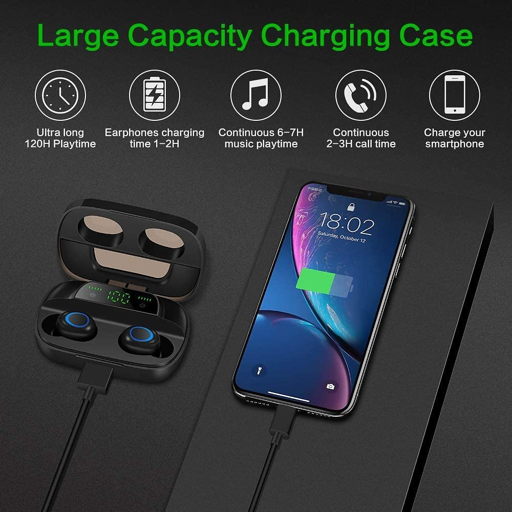 Wireless Bluetooth Earbuds, Bluetooth 5.0 Earphones with Digital LED Display, 3500 MAH Charging Case, 135H Playtime Stereo Sound