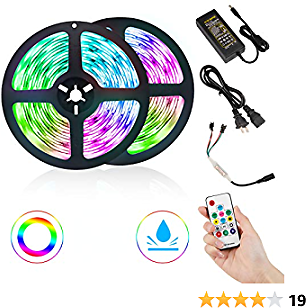 DLIANG DreamColor LED Strip Light 2X16.4ft Flexible Tape Lights 5050 SMD RGB 300 LEDs Waterproof IP65 Rope Light for Home Kitchen Party Decoration