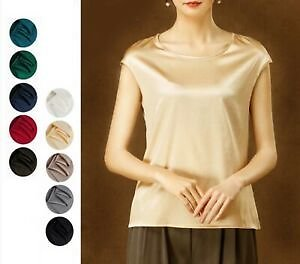 Womens 19 Momme Silk Boat Neck T Shirts Blouse Tees Sleeveless Tops