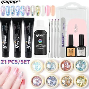 Details About Sequins Decor Kits 15ml POLY NAIL GEL SET Quick Gel Extension For Nail Starter