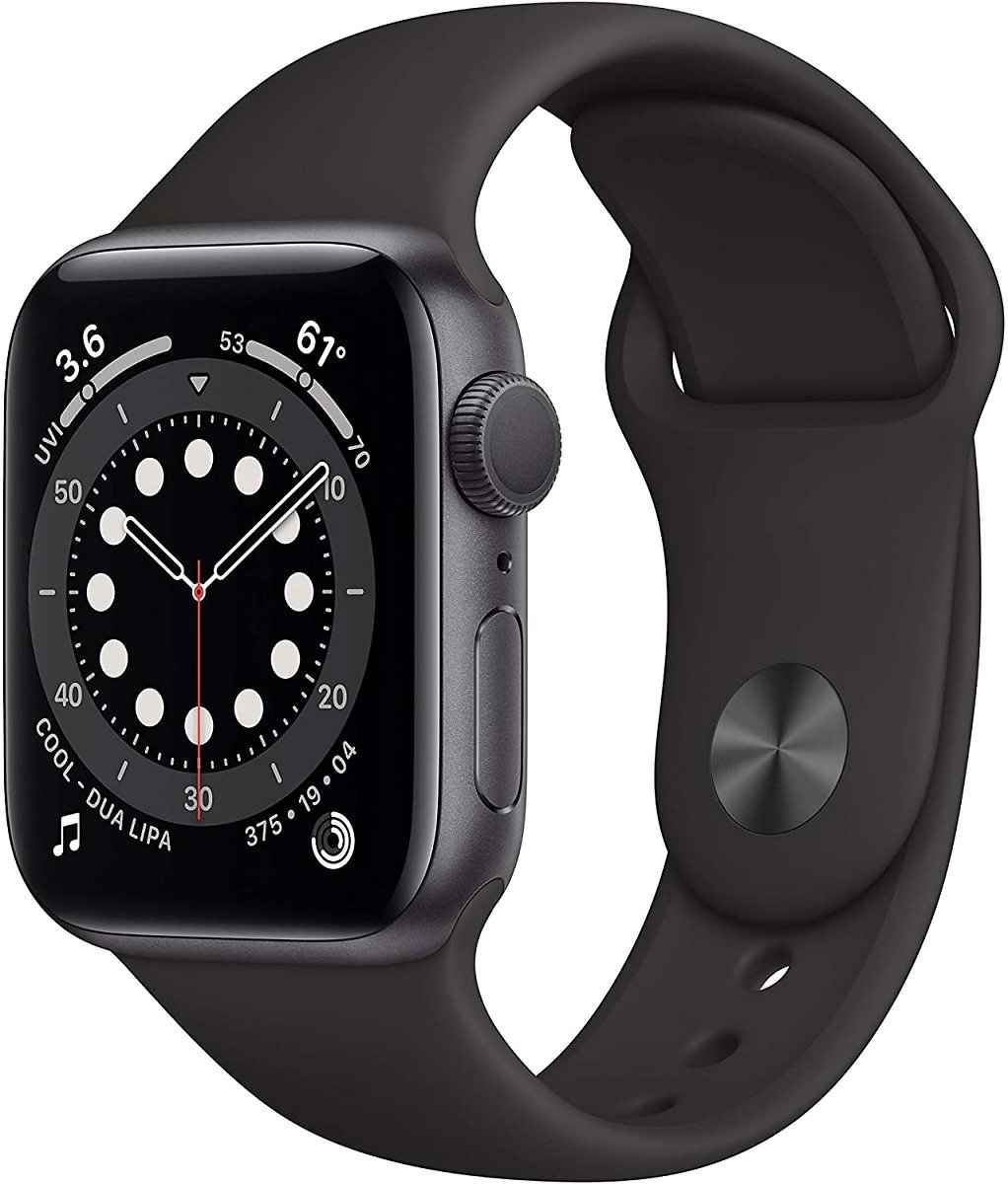 Apple Watch Series 6 (GPS, 40mm) Space Gray Aluminum Case with Black Sport Band
