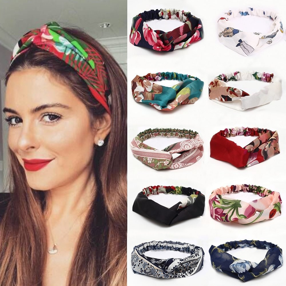 US $1.57 77% OFF|30 Colors Hair Tie For Women Cross Top Knot Elastic Twisted Knotted Headwrap Chiffon HairHand Autum Headband Accessories Floral|Women's Hair Accessories| - AliExpress