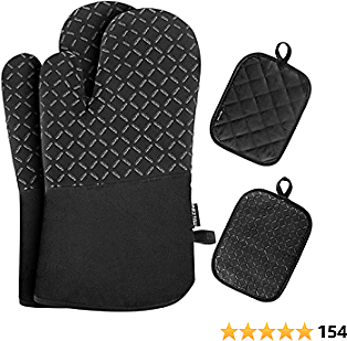 MILcea Oven Mitts and Pot Holders 4pcs Sets, 520℉ Heat Resistant Extra Long Oven Gloves with Non-Slip Silicone Surface and Soft Cotton Lining for Kitchen Cooking Baking BBQ Grilling