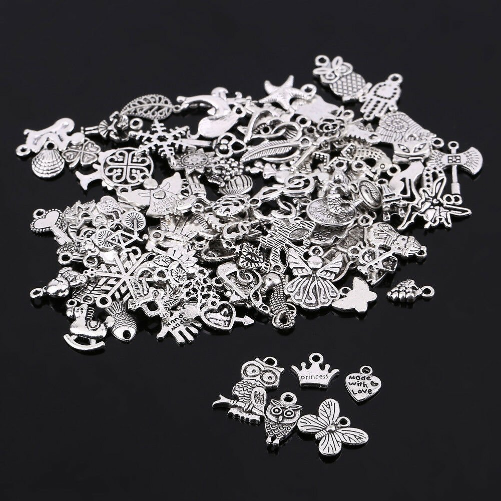 Wholesale 100pcs BULK Mixed Silver Charms Pendants for DIY Jewelry Making Decor for Sale Online