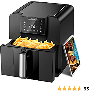 Elechomes Air Fryer, Double Fan Design for Rapid Evenly Heating, LED Digital Touchscreen with 6 Smart
