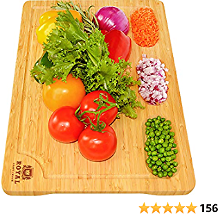 Extra Large Bamboo Cutting Board/Cheese and Charcuterie Board/Serving Tray with Built-In Compartments and Juice Groove - Wooden Chopping Board for Meat, Vegetables, Fruit and Cheese (12 X 18