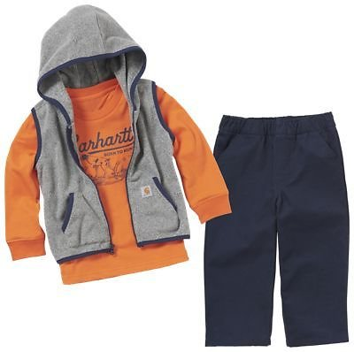 Carhartt Hooded Vest, Long-Sleeve T-Shirt, and Dungaree Pants 3-Piece Gift Set for Babies | Bass Pro Shops