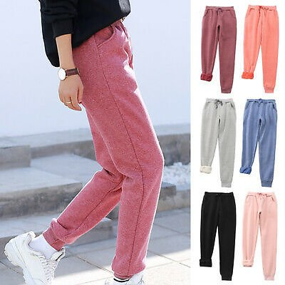 Women Winter Thermal Thick Warm Plush Lined Pants Loose Long Trousers Sweatpants