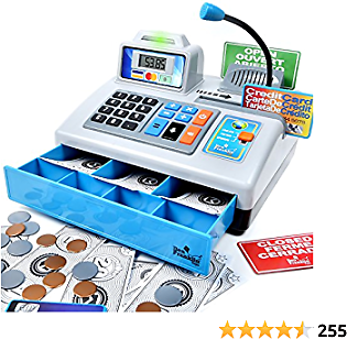 Ben Franklin Toys Talking Toy Cash Register - STEM Learning 69 Piece Pretend Store with 3 Languages, Paging Microphone, Credit Card, Bank Card, Play Money and Banking for Kids, Silver