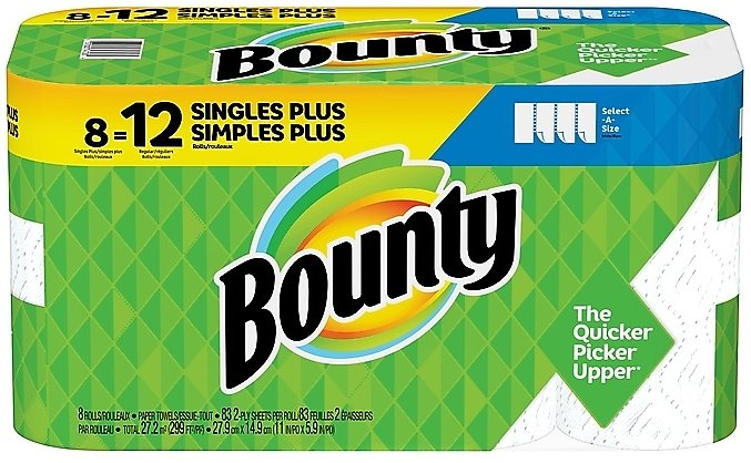 Bounty Select-A-Size Kitchen Roll Paper Towels, 2-Ply, 83 Sheets/Roll, 8 Rolls/Pack