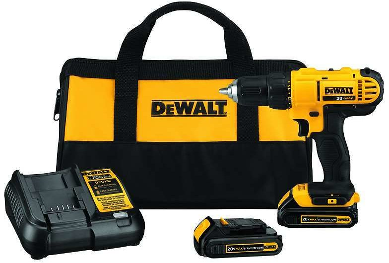 DeWalt 20 Volt 1/2 In. Brushed Cordless Compact Drill/Driver Kit (Battery & Charger Included)