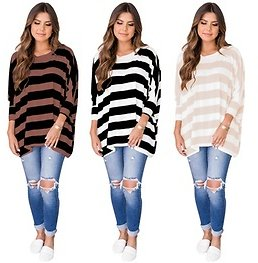 Women's 3/4 Sleeve Knit Sweater Striped T Shirt Tunic Tops Blouse