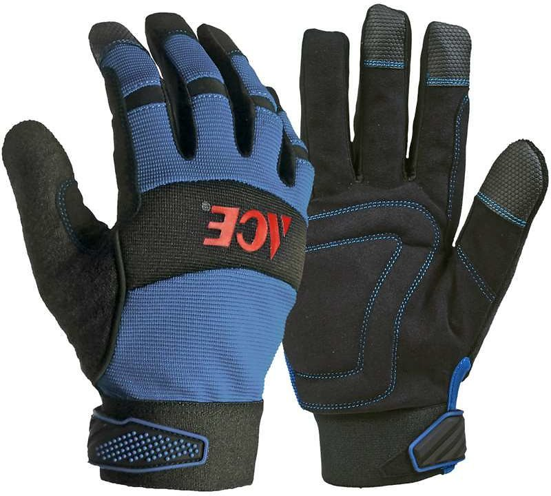Ace M Leather Palm Winter Blue Gloves